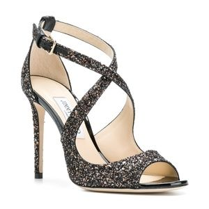 NIB Jimmy Choo Glitter Emily 100 Sandals
